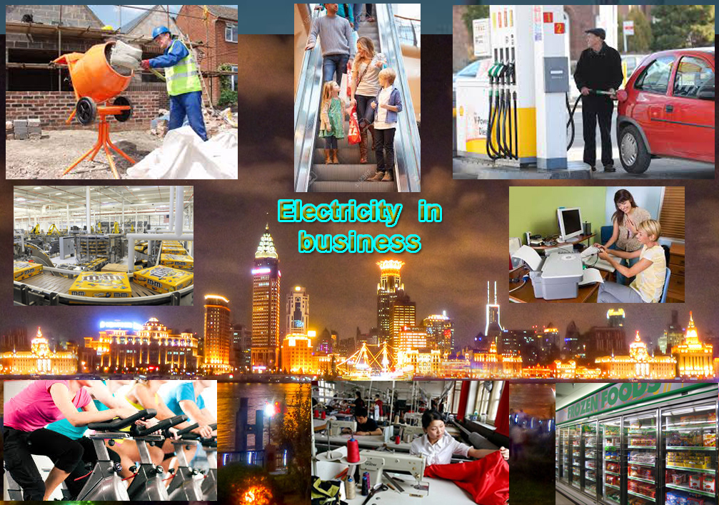 compilation image showing many different types of things which run off electricity in businesses