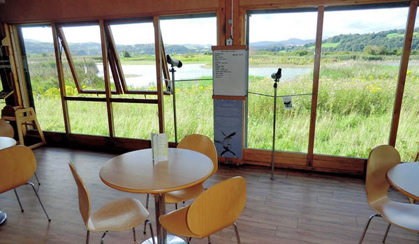 image of cafe overlooking lake at RSPB Conwy where the second meeting with SP too place