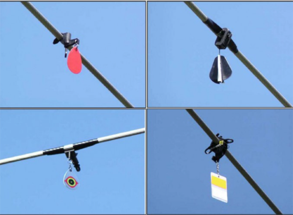 Image of four designs of bird alert flight diverters