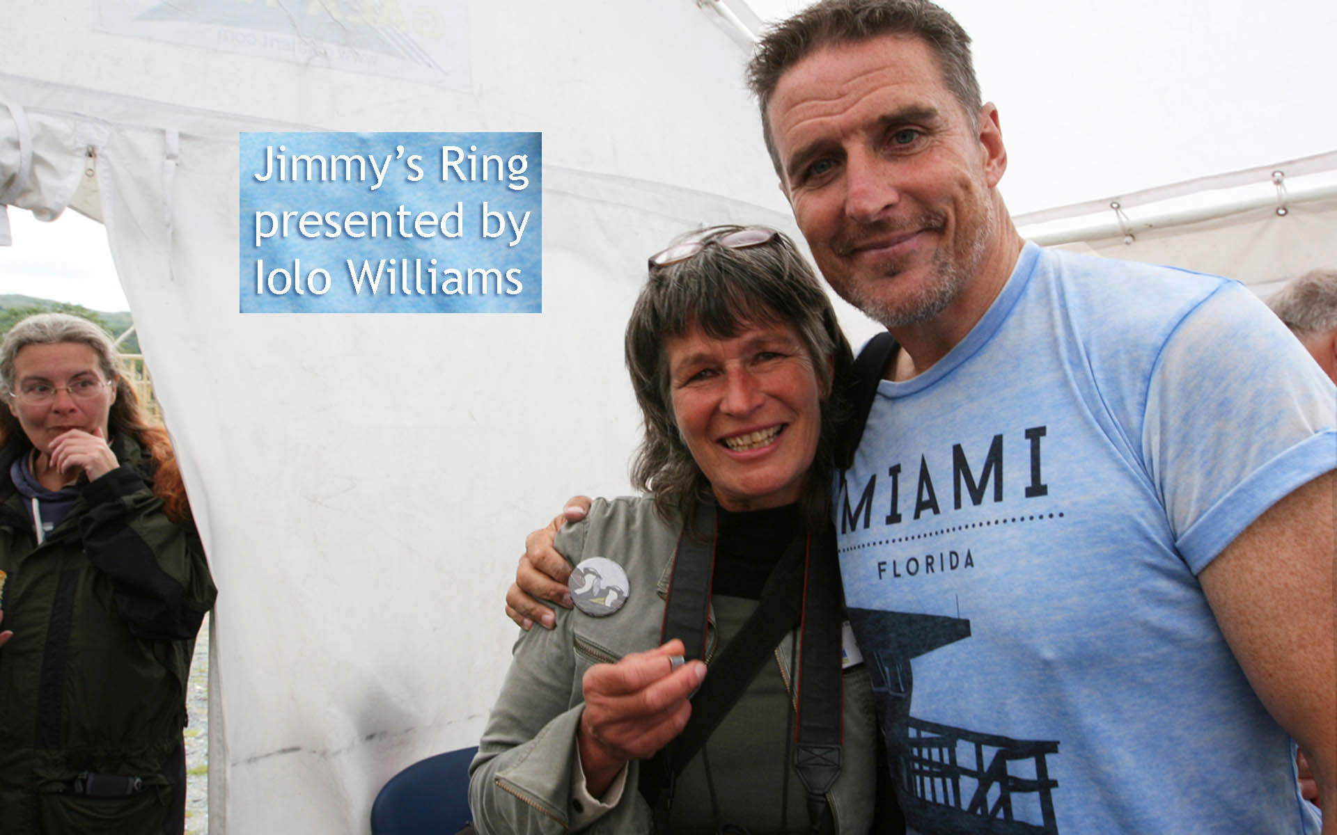 Gail being presented with Jimmy's ring by Iolo Williams on 31 July 2015