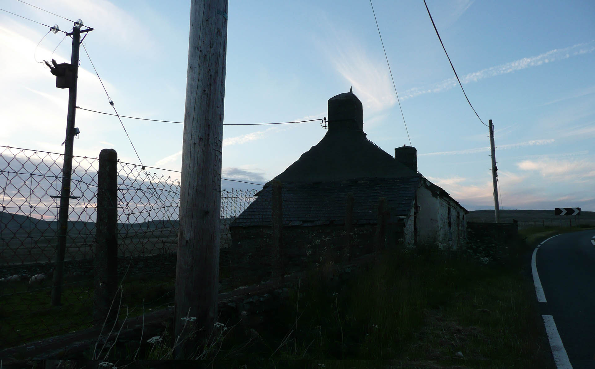 The 'Killer Pole' at Hiraeth Cottage with the moor behind where poor CU2 was electrocuted