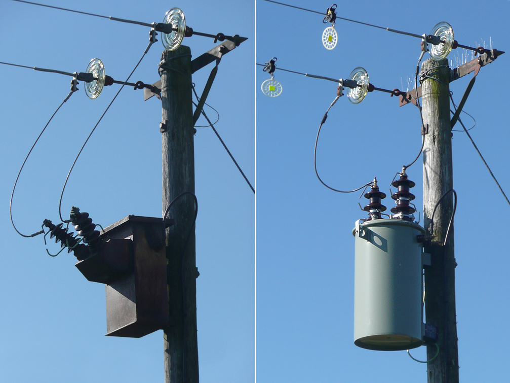 the power pole where Jimmy eas electrocuted before, left, and after, right