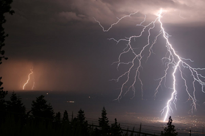 Lightning strick from clouds
